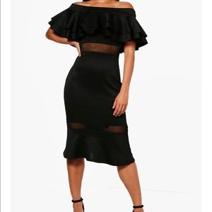 Double Layer Off the Shoulder Frill Midi Dress